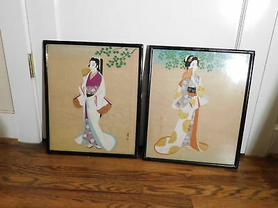 Pair Japanese Male and Female Figures Hand Painted on Silk Signed