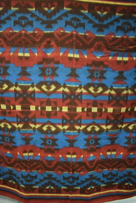 "Antique ""Camp Blanket"", Wool and Cotton, Red, Blue & Yellow, Bold Design #18479"