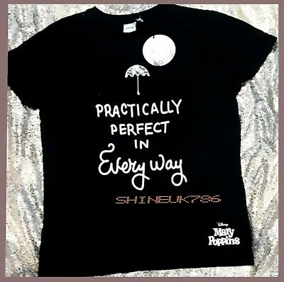 PRIMARK DISNEY Black MARY POPPINS Practically perfect T-SHIRT Tee Top Brand New