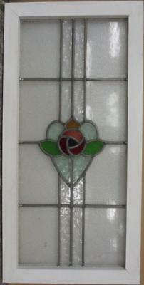 "MID SIZE OLD ENGLISH LEADED STAINED GLASS WINDOW Pretty Floral Heart 17"" x 34.5"""