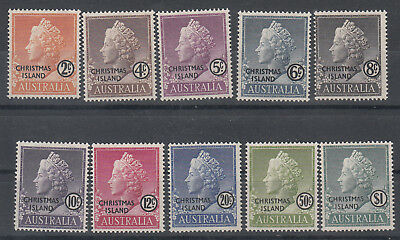 Christmas Isl. 1958 QEII Definitives set of 10 stamps. SG1-10. MLH. Going cheap