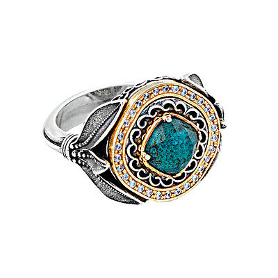 D306 ~ Sterling Silver Doublet Cocktail Ring with Zircons