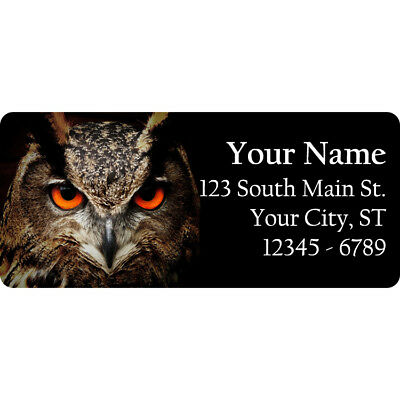 30 Custom Wide Eyed Owl Personalized Address Labels