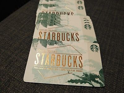 Starbucks Gift Cards Special Edition 100% Recycled Paper Lot of 10