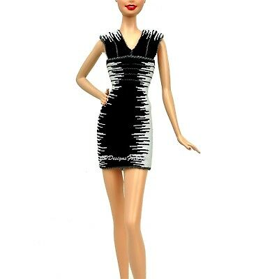 Barbie Herve Leger by Max Azria Model Muse Black and White Bandage Dress NEW