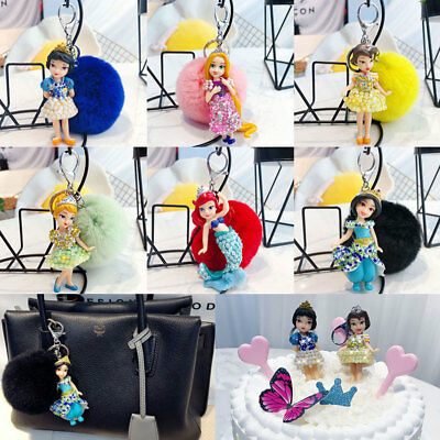 New Key Chain Crystal Charm Rhinestone Princess Fluffy Ball Keyring Holder Gift