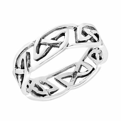 Intricately Beautiful Band of Celtic Knots Sterling Silver Ring-7