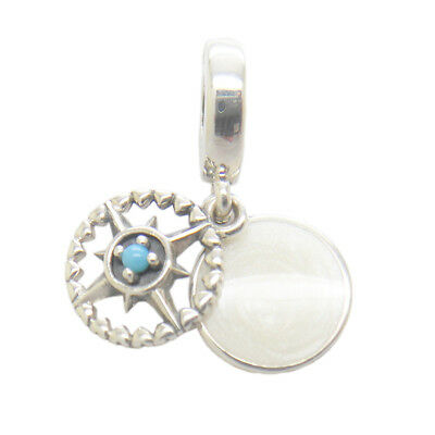 Authentic Silver Compass Rose Dangle Enamel & Cyan Blue Crystal Fashion Charms