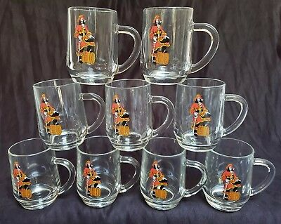 9 Captain Morgan Rum Clear Glass Mugs Pirate Cup Jolly Roger Made in USA EUC