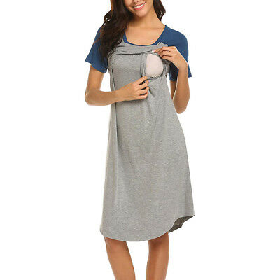 Pregnant Women Maternity Pajamas Nightdress Nursing Breastfeeding Short Dress