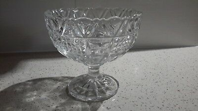 Vintage 1940 heavy cut glass crystal pedestal sweets nuts fruit bowl