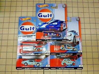 Hot Wheels 2019 Car Culture Gulf 5-set VW McLaren Nissan Mustang Fiat