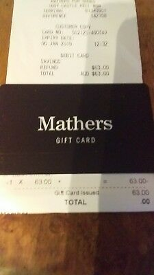 Gift Card Mathers Shoes unwanted ....value $63.00 free post