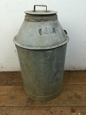 Vintage galvanised Steel metal milk churn
