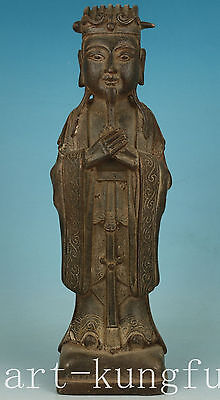 Antique Chinese  iron casting Ming Dynasty daojiao buddha Figure Statue deco