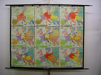 Schulwandkarte Beautiful Old Abendland Europakarte 194x164 Vintage Map~1955