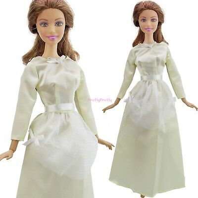 Retro Beige Dress Party Ball Gown Accessories Clothes For Barbie Doll Xmas Gift