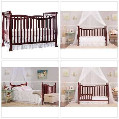 Convertible Crib Wood 7in1 Baby Infant Toddler Bed Daybed To Full Size Espresso