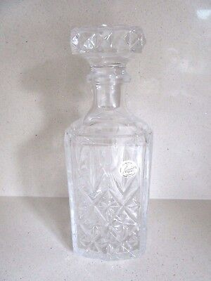 "Heavy Cut Glass Crystal Wine Whiskey Port Brandy Decanter Weight 1.6 Kg 9"" tall"