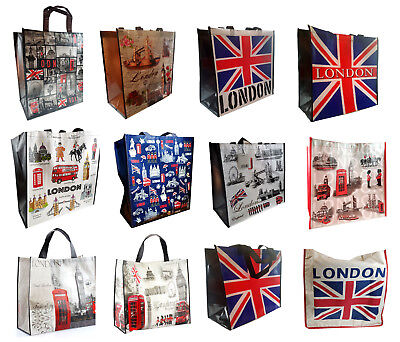 Great British Icons Map London Souvenir PVC Tote Grocery Clothes Shopping Bag