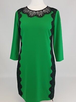 bc4ce724bafd79 Ted Baker London Green Black Ladies Dress Womens Size 3 Sew in Love UK 12