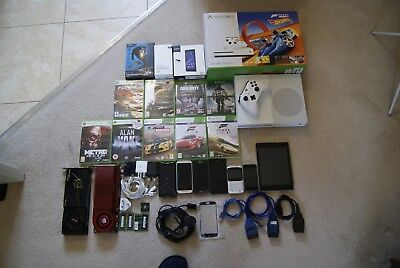 Box full of tech gadgets GAMING, PHONES, ACCESSORIES, PC PARTS read description