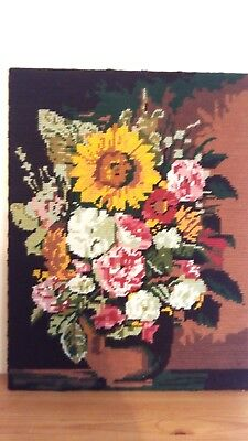"""Handworked completed  tapestry """"VASE OF FLOWERS"""" 30cm x 40cm (approx 12"""" x 16"""")"""