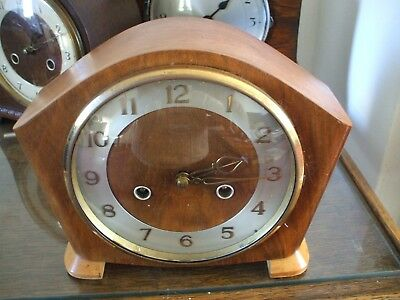 Vintage Smiths Coronach British Art Deco 8 Day Striking Mantle Clock V G Cond
