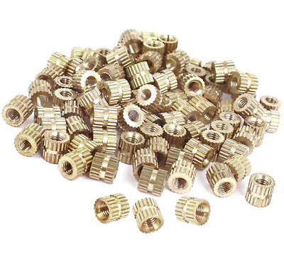 Metric Threaded Brass Knurl Round Insert Nuts M3x5mm(L)-5mm(OD). 0382