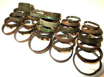 Ancient medieval lot of 29 bronze damaged Rings.