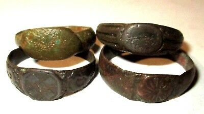 Ancient medieval lot of 4 pcs bronze finger Rings.