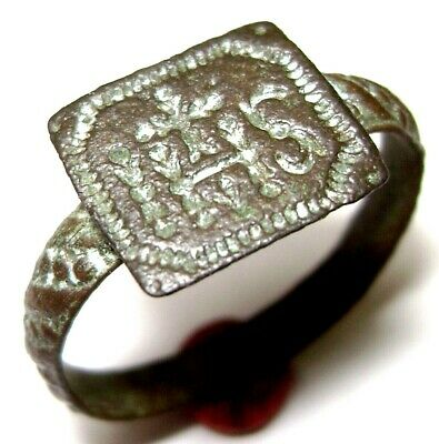 "Ancient Late Medieval Religious BRONZE RING with hristogram ""IHS"""