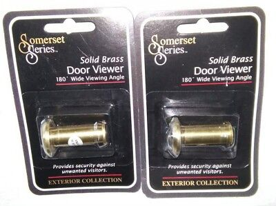 "Lot of 2 Somerset Series Solid Brass Door Viewer 180 Wide Viewing Angle 1 3/8""-2"