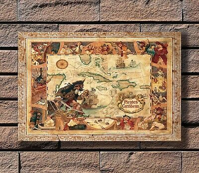 Disney Pirates Of The Caribbean Map Poster Fabric 8x12 20x30 24x36 E-11