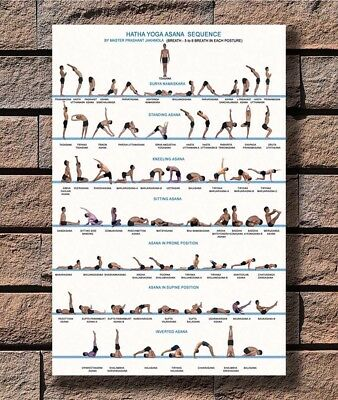 B-639 Yoga Exercise Bodybuilding Chart 12x18 24x36 27x40 Fabric Poster