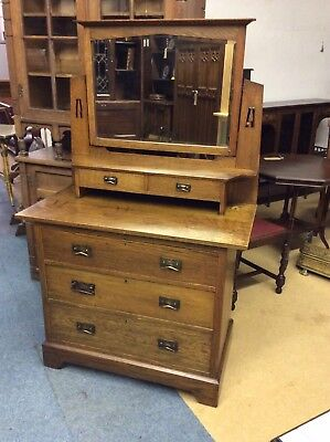 Solid Oak Dressing Table Arts & Crafts Style