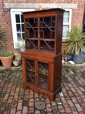 Antique Inlaid Glazed Bookcase, Display Cabinet,colectors Cabinet