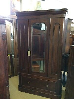 Victorian Mahogany Single Mirrored Door Wardrobe With A Drawer In The Base
