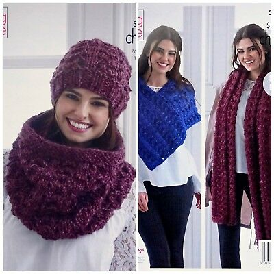 4d368247d83fac KNITTING PATTERN Ladies Lacy Cowl Hat Scarf Poncho Super Chunky King Cole  5198