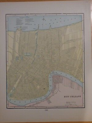 1899 two-sided map of New Orleans, LA and Louisville, KY from Cram's atlas