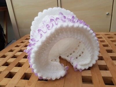 NEW Hand knitted  baby girl bonnet with lilac lace trim  - 3-6 months