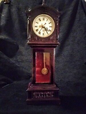"Vintage  Miniature  Grandfather Clock. 11"" H"