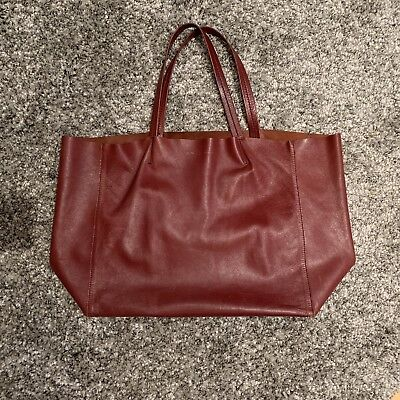 4dd7772d3a6c Authentic Celine Burgundy Maroon Horizontal Cabas Tote Shoulder Bag