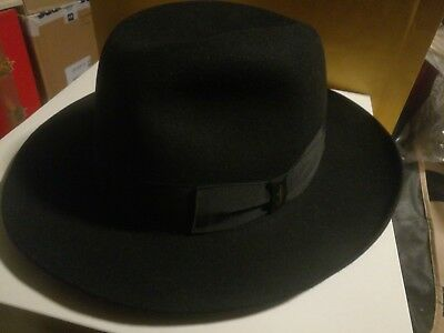 Cappello uomo mens hat Borsalino in feltro nero black never worn 59 cm uk 7  1 535c844ece47