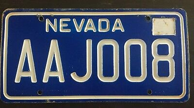 NEVADA License Plate Tag BLUE Rare Mint AAJ008  80's AAJ008