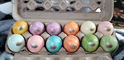 12 Vintage Hand Carved Genuine Italian Alabaster Eggs  By Ducceschi W/ Labels