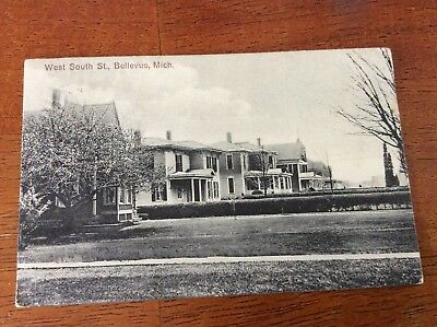 Postcard Bellevue, Michigan. West South Street. Posted 1912.