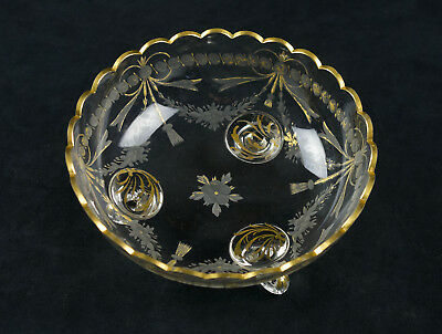 Antique Engraved & Gold Encrusted Bowl, Moser Intaglio Cut Floral Ribbon Tassel