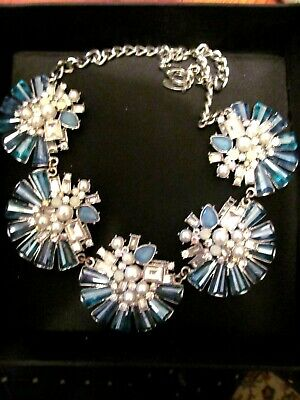 Stunning coast aqua and silver tone ornate art deco statement necklace