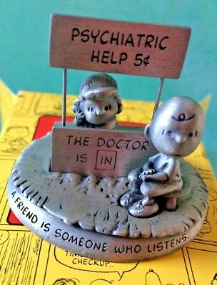 Hallmark Peanuts Gallery Being There Lucy & Charlie Brown Pewter Figurine NEW